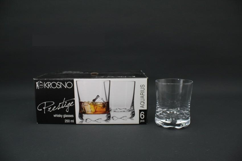 KROSNO PRESTIGE AQUARIUS Szklanki do whisky 250 ml 6szt